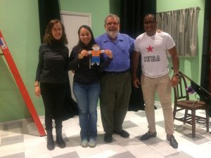 Flat Stanley in Montana!  Uncle Michael onstage with new friends cellist Julia Henderson, actress Rosa Rodriguez (holding Stanley) and pianist Byron Sean.