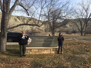 Flat Stanley in North Dakota!!!! At the entrance to the Theodore Roosevelt National Park.